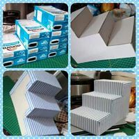 Utiliza cajas de leche para crear un bello exhibidor con forma de escalera que te servirá para lucir postres o bocadillos en un buffet o me. Craft Crea un exhibidor de postres usando cajas de leche Candy Table, Dessert Table, Candy Buffet Tables, Dessert Bars, Milk Box, Baby Shawer, Ideas Para Fiestas, Diy Cake, Diy Party