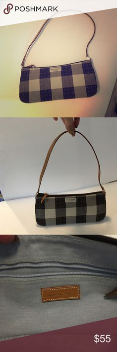 Kate Spade authentic black&white checkered bag Authentic Kate Spade shoulder bag black white grey checkered with little light blue grey stitched dots & tan leather strap. Made in Italy. Never been carried in perfect like new condition. 11in wide 5in tall  2in wide strap is 11in at peak from top of bag. kate spade Bags Shoulder Bags