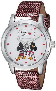 DISNEY Women's Mickey Mouse Analog-Quartz Watch with Leather-Synthetic Strap, Purple, 18 (Model: Elegant Watches, Stylish Watches, Casual Watches, Beautiful Watches, Disney Collection, Mickey And Minnie Love, Minnie Mouse Watch, Purple Quartz, Pink Watch