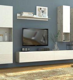 Idée salon meuble TV  blanc suspendu avec mur gris