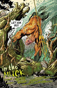 Aquaman vs Swamp Thing in the Muck (Aquaman #31)