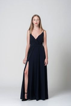 Black Friday maxi bridesmaid gown  navy blue wrap by NoiseFashion