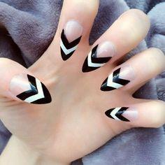 chevron stiletto nails - Google Search