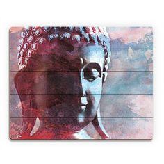 Cerulean Buddha Abstract Wall Art Print On Wood
