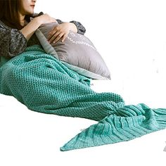 "Suncloris.Mermaid Tail Blanket- Super Soft Sleeping Bags, for Adult and Kids Living Room Bedroom Sofa Sleeping Bags (71""35"", Mint Green)"