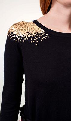 gold sequin embellished shoulder black sweater