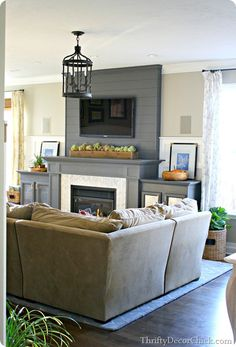 Family room reveal + DIY fireplace planked wall