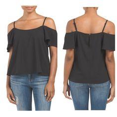 💸 Flutter Sleeve Top 💸 Adjustable straps. Cold shoulder sleeve, scoop neck. Polyester. Imported. Hand wash. Button closure on back. Boutique Tops Blouses