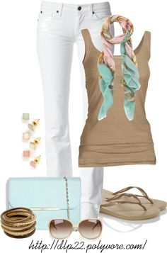 I love this color combo! White, mint, and khaki