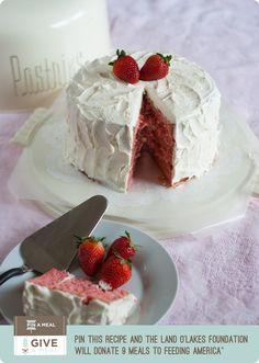 Strawberry Layer Cake with Amaretto Swiss Meringue Buttercream