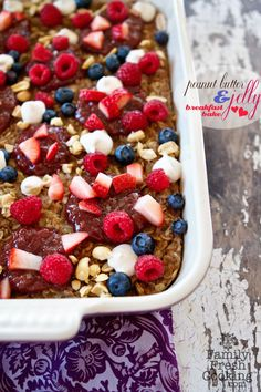 Peanut Butter and Jelly Breakfast Bake | recipe by FamilyFreshCooking.con