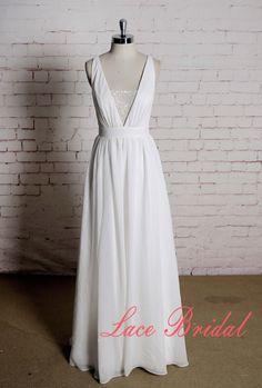 Sexy Stil Hochzeitskleid mit Chiffon-Rock von LaceBridal auf Etsy
