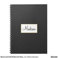 Black and Gold Polka Dot Monogram Notebook