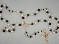 Czech 8mm Opaque Black & White Glass Beads with 9mm Ceramic Volleyballs with Italian Holy Face Center and Italian Silver Crucifix Rosary by JMJBlessedBeads on Etsy