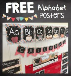 Adorable FREE chalkboard alphabet posters for your playroom or classroom. You can print them smaller to use as alphabet flashcards too! Classroom Walls, New Classroom, Classroom Posters, Classroom Setup, Classroom Design, Kindergarten Classroom, Classroom Organization, Kindergarten Freebies, Alphabet Cards