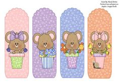 Flower Pot Mice Book Marks on Craftsuprint designed by Rhonda Brittain - This is a cute set of four bookmarks for those of you who like mice and reading. - Now available for download!