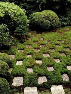 >>> Checkered lawn | shigemori garden in kyoto, via Gardenista