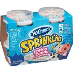 YoCrunch Sprinkl'ins Vanilla Lowfat Yogurt with Cotton Candy Flavored Topping, 4 oz, 4 count Cute Snacks, Cute Food, Yummy Food, Bubble Gum Cookies, Comida Disney, Kids Toy Shop, Cotton Candy Flavoring, Oreo Flavors, Disney Coffee Mugs