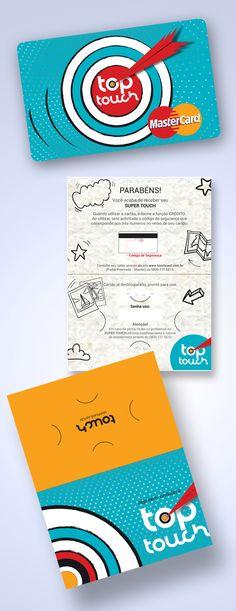 Criação e desenvolvimento da marca TOP TOUCH, cartão com bandeira MasterCard personalizado e berço do cartão para os premiados.  Cliente Touch Card