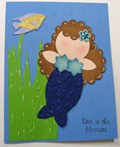 Mermaid Punch Art card (hahaha, me as a mermaid!)