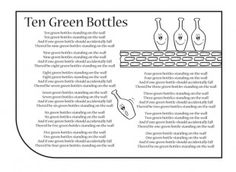 Ten Green Bottles nursery rhyme lyrics. Find lots more at iChild.co.uk