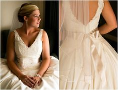 Lace Bridal Gown with Ribbon Tie