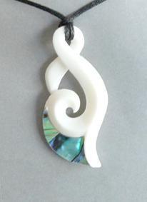 Bone pendant carvings and maori earrings maori bone pendantsmaori maori bone hook pendant with twist koru and paua httpshopenzed mozeypictures Images