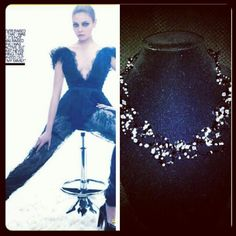 Pair this amazing custom necklace by Haute Baubles with Mila Kunis wearing Marchesa!!!! A heavenly combination!!!