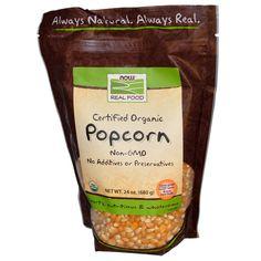 Now Foods, Real Food, Certified Organic Popcorn, 24 oz (680 g) - iHerb.com. Bruk gjerne rabattkoden min (CEC956) hvis du vil handle på iHerb for første gang. Da får du $5 i rabatt på din første ordre (eller $10 om du handler for over $40), og jeg blir kjempeglad, siden jeg får poeng som jeg kan handle for på iHerb. :-)