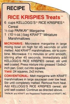 Original Rice Krispies Treats Recipe - add second bag of marshmallows for extra softness Retro Recipes, Old Recipes, Vintage Recipes, Candy Recipes, Sweet Recipes, Snack Recipes, Dessert Recipes, Cereal Recipes, Desert Recipes
