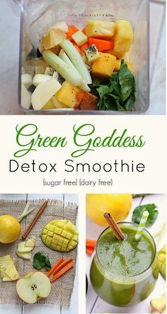 Green Goddess Detox Smoothie - a delicious creamy and naturally sweet smoothie that is healthy and full of vitamins, nutrients and is sugar free, dairy free, paleo and vegan.