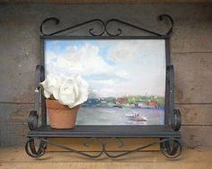 Vintage Wrought Iron Shelf Black Wall Hung by RosaMeyerCollection