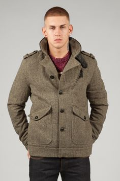 Men's Brown Midlength Wool Tweed Trench Coat | Coats Wool and
