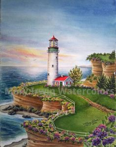 'Sunset Lighthouse'   Watercolor by Mary Irwin  http://www.maryirwinwatercolors.com/