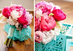 Fuschia and turquoise wedding | Pink and aqua wedding | #EndoraJewellery - Custom wedding jewellery for the bride, bridesmaids and flower girls.