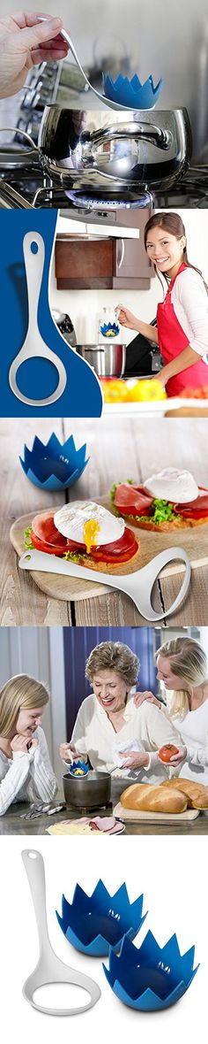 Silicone Egg Poachers (Set of 2 Blue Poached Egg Pods) with Egg Poacher Lifter...Non Stick Egg Poacher Cups For Perfect Poached Eggs