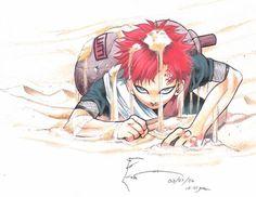 This is Gaara, duh! He's one of my favorite Naruto characters. I drew him 'cause he's my idol! Done using pencil, colored pencils, ballpen and wa. Gaara of the Sands Naruto Shippuden, Boruto, Shikamaru, Anime Naruto, Naruto Sasuke Sakura, Anime Guys, Anime Toon, Manga Anime, Gara Naruto