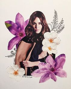 alexa chung flower collage by kate rabbit - No. 34/100