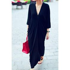 Casual Plunging Neck 3/4 Batwing Sleeve Solid Color Ruffled Women's Dress