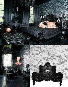 Skull/Gothic bedroom, this needs more color and something better than that salmon peachy color, but that furniture is really awesome