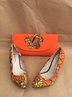 African Print Shoes. African Fabric Pumps por EJAfricanProducts