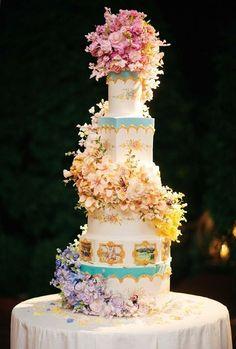 amazing Whimsical Wedding Cake with Flowers & Gold