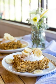 Peanut Butter and Banana Baked Oatmeal- made this with unsweetened coconut milk - turned out wonderful!