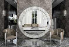 Vismara Design big mirror with round shape perfect  for entrance and lobby. #luxury #vismaradesignitaly #mirrors #lobby #entrance  #interiordesign #homeliving