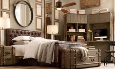 Bed Rooms | Restoration Hardware  Chesterfield Leather Panel Bed & Richard's Canvas Secretary Trunk, Cube & Low Chest w/ Riverside Hills Fan