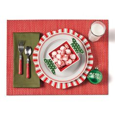 Kid-Friendly | There's no mistaking this red and green color scheme—it's Christmas time! Help your little ones get in the holiday spirit with candy striping and sweet treats. Accessorize with whimsical touches like a favorite ornament. Don't forget kid-sized utensils which are perfect for pint-sized palms.