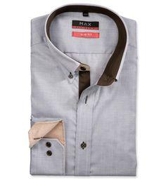 Modern Fit polopriliehavá košeľa Hnedá štrukturová 100% bavlna Rybia kostra (keper)