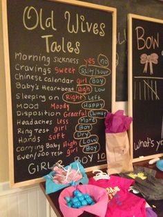 Gender Reveal Party Ideas Graham thought these chalk boards w/ old wives tales peoples guesses was fun! Old Wives Tale, Wives Tales, Gender Party, Baby Gender Reveal Party, Gender Reveal For Twins Ideas, Baby Reveal Party Ideas, Disney Gender Reveal, Bee Gender Reveal, Candy Land