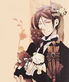 sebastian with kittens :3 so cute! -- black butler!