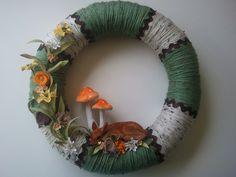Spring Yarn Wreath Fawn & Mushroom Wreath Green by CornOnMacabre Twine Wreath, Find A Husband, Holiday Wreaths, Holiday Decorations, Wreath Tutorial, Spring Has Sprung, Fourth Of July, Seasonal Decor, Stuffed Mushrooms